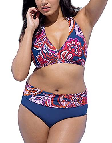 Joligiao Donna Bikini Taglie Forti Costumi da Bagno a Vita Alta Imbottito Stampato Ricamo Costumi Donna Mare Due Pezzi Regolabile Spiaggia Bikini
