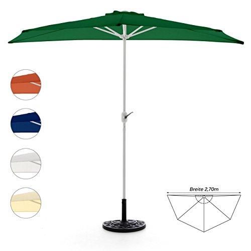 Nexos GM35095_SL Komplett-Set Sonnenschirm Grün Halb-Schirm Balkonschirm Wandschirm halbrund 2,70m mit passendem Schirmständer und Schirmschutzhülle, 270 x 140 x 235 cm
