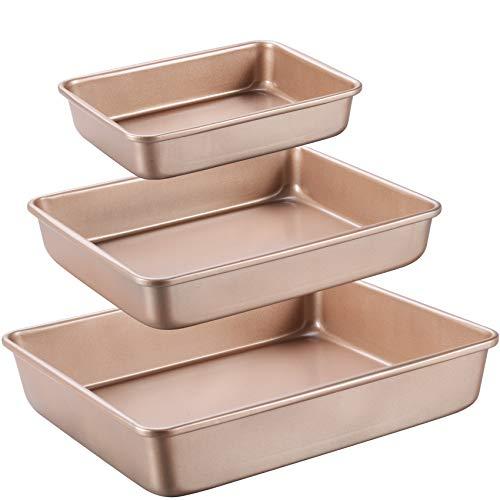 Joho Baking Deep Baking Pans Nonstick Set, Cookie Sheet Baking Sheet Pan, Bakeware Rectangle Cake Pan for Oven, 3 Piece, Gold