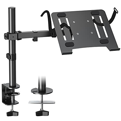 MOUNTUP Single Laptop Mount with Tray, Notebook Arm Stand Desk Mount, C Clamp...