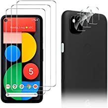 Luibor for Google Pixel 5 Screen Protector[3 Pack]+ for Google Pixel 5 Camera Lens Protector [3 Pack], Anti-fingerprint Anti-Scratch Tempered Glass for Google Pixel 5