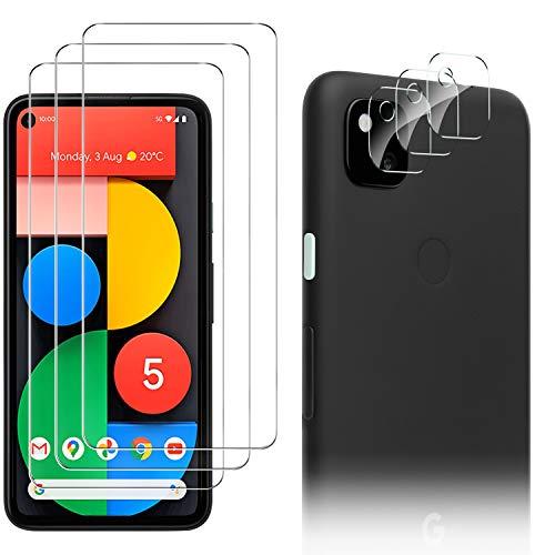 Luibor [6 in 1] Cristal Templado Google Pixel 5 + Cámara Protector de Pantalla,[9H Dureza] [Compatible con la Funda] [Equipado con Soporte de Montaje más Seguro] 4G