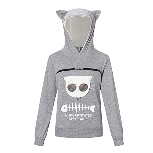 Pet Dog Cat Pouch Hoodie, Small Pet Carrier - Dog Cat Pouch Hoodie Sweatshirt Kangaroo Pocket Holder,with Ears(Gray,M)