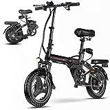 0℃ Outdoor Bicicleta Eléctrica Plegable de 48V de 14 Pulgadas, Batería Extraíble para Adultos, Eléctrica para la Nieve en la Playa, Bicicletas Eléctricas de Montaña de la Ciudad,12.5a/80km
