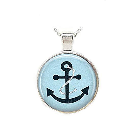 Halskette mit Ankermotiv, Marineblau, Seefahrt, Segelkunst
