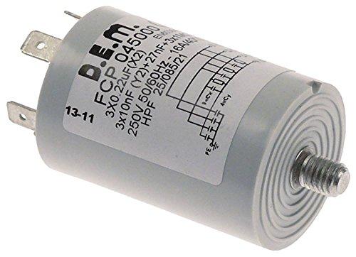 Silanos Entstörfilter FCP045000 für Spülmaschine E1000, N1000-SILANOS, N1300, N700FPS Anschluss Flachstecker 6,3mm mit PE 4