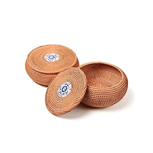 Rattan Aufbewahrungsbox Handgemachte Vietnam Herbst Rattan Tee Caddy Dose dekorative Teedosen Runde Aufbewahrungsdosen(Color:as Picture,Size:Large)