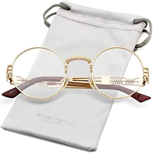 Round Steampunk Sunglasses John Lennon Hippie Glasses Metal Frame 100 UV Blocking Lens Gold product image