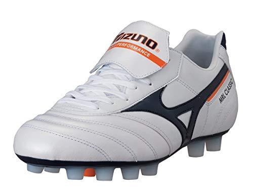 MIZUNO Morelia Classic MD Bota de Fútbol Caballero, Blanco/Azul/Naranja, 39
