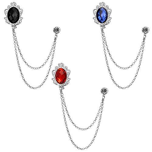 Huture 3 paquetes de broche de gema para hombre, pin de solapa, cadena colgante broche para traje, esmoquin de camisas, corbata, sombrero, bufanda, regalo de cumpleaños, plata, negro, rojo, azul