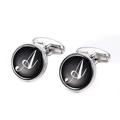 Merit Ocean - Gemelos para hombre, diseño de letra inicial, bañados en rodio, ideales para bodas y negocios, A-Z