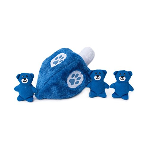 ZippyPaws - Holiday Burrow, Interactive Squeaky Hide and Seek Plush Dog Toy - Hanukkah Dreidel