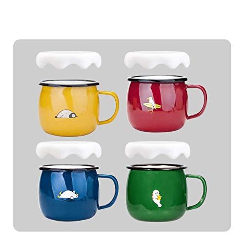 JSMY Tasse en émail Cadeau Bouilloire,Lot de 4 gobelets 430 ML pour Enfants et Adultes,Rouge/Jaune/Vert/Bleu,tiques à imprimé Animal,Cadeau Amusant(Couleur:avec Couvercle)