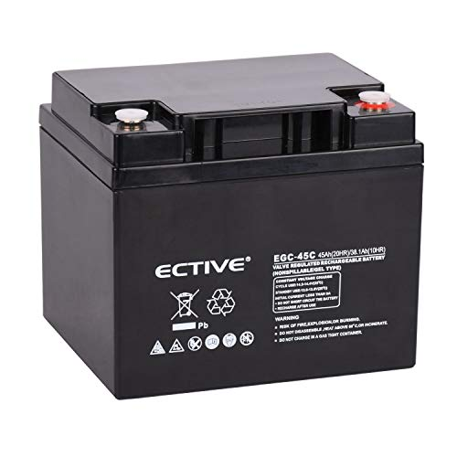 ECTIVE 12V Gel Solarbatterie Deep Cycle Batterie extrem Zyklenfest in 6 Varianten (VRLA) (45 Ah)