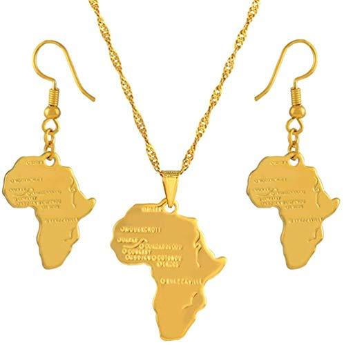 Aluyouqi Co.,ltd Collar Mapa De África Conjunto De Joyas Collares Pendientes Pendientes Mapa De Color Dorado De África Etíope Nigeria Sudán Congo Conjuntos Longitud De Cadena 45Cm