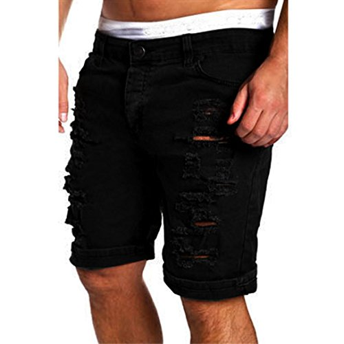Herren Shorts Kurze Hose, Dasongff Herren Chino-Shorts Kurze Zerrissen Jeans Shorts Destroyed Loch Bermudashorts Knielang Kurze Hose Sommer (M, Schwarz)