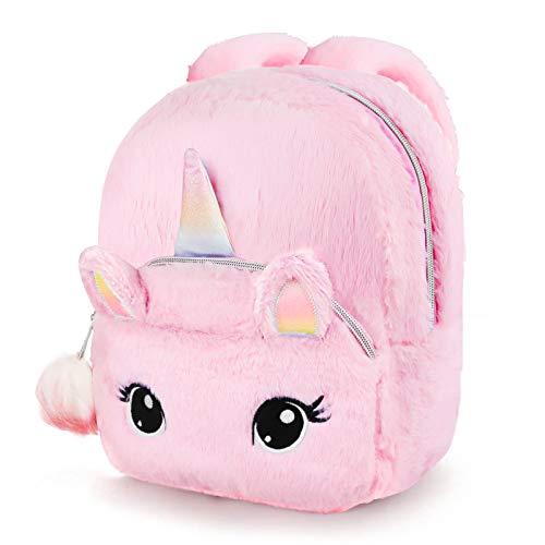 Hifot Unicorn Cute Backpack for Kids, School Bags for Nursery Toddler Bookbags Plush Soft Pink Mini Backpack Unicorns Gifts for Little Girls(Plush ball: random color)