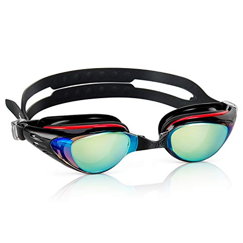 Shortsighted Swim Goggles, Nearsighted Swimming Goggles No Leaking Anti Fog UV Protection Triathlon Optical Myopic Swim Goggles Mirrored for Adult Men Women Youth Kids