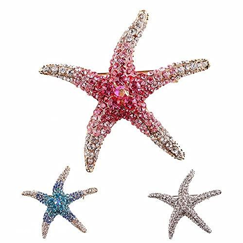 XKMY Broche de estilo vintage, accesorios chapados en antiguo, joyería verde, broches, broche de estrella de mar, para mujeres y niñas, 4 cm x 4 cm (color principal de la piedra: azul)