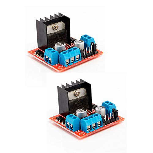 Neuftech 2 Pcs L298N Motor Driver Module Dual Channel H Bridge DC Stepper Driver Module Controller for Arduino Raspberry Pi