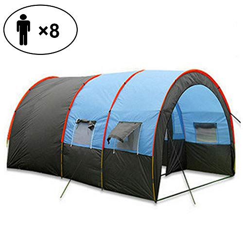 ZYQDRZ Large Tunnel Tent, Multi-person Camping Travel Tent, Two Rooms And One Hall, Multiple Ventilation Windows, Rain And Sun Protection Hiking Shelter