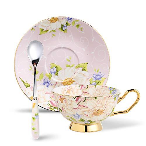 Panbado Set di Tazza e Piattino Bone China Tazzine da caffè Tazze da tè Servizi da caffè Mugs in Porcellana Coffee Cup, Set 1 Pezzi 1 Tazza, 1 Piattino, 1 Cucchiao, 200ml, Fiori