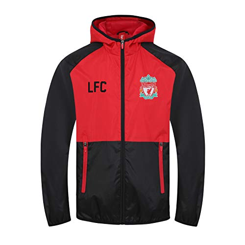 Liverpool FC Official Gift Boys Shower Jacket Windbreaker Black Red 8-9 Years
