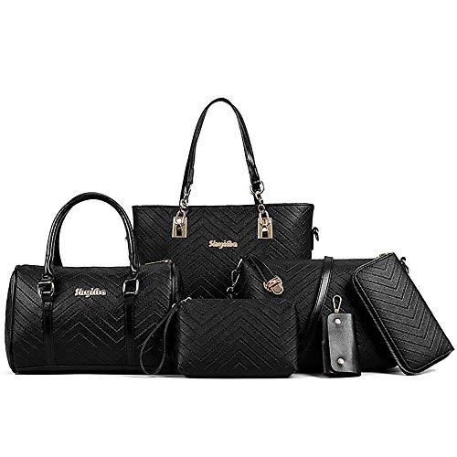 AlwaySky Damen Handtaschen Set 6 Stück PU-Leder Top Griff Tasche Frauen Geldbörse Umhängetasche, Schwarz