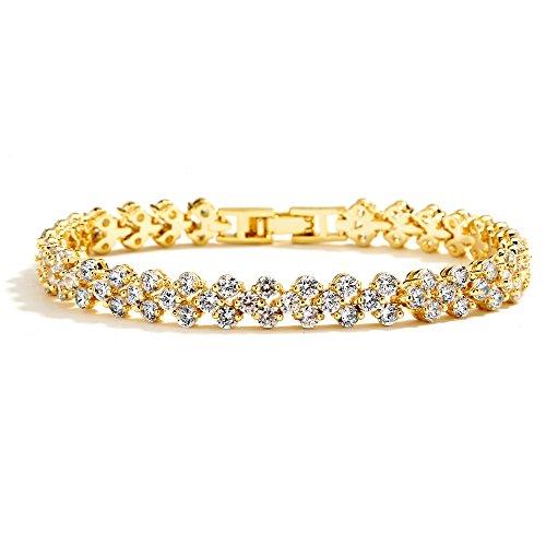 Mariell Cubic Zirconia Gold Tennis Bracelet for Brides, Wedding, Prom...