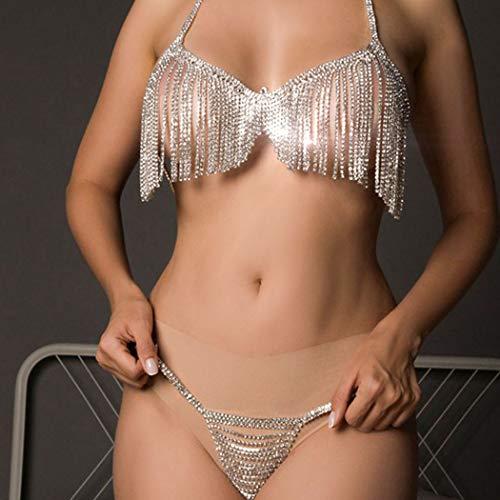 Sethain Clásico Diamante de imitación Bikini Cadenas Conjunto Plata Cristal Borla Sostén...