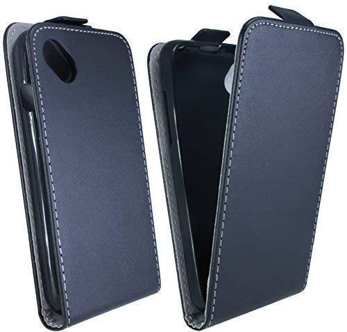 ENERGMiX Klapptasche Schutztasche kompatibel mit Wiko Sunset 2 in Schwarz Tasche Hülle