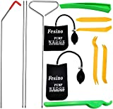 Fesino Professional Automotive Car Truck Essential Tool Kit with Easy Entry Long Reach Grabber, Inflatable Air Pump Wedge, Non Marring Wedge,12PCS (Stainless Steel)