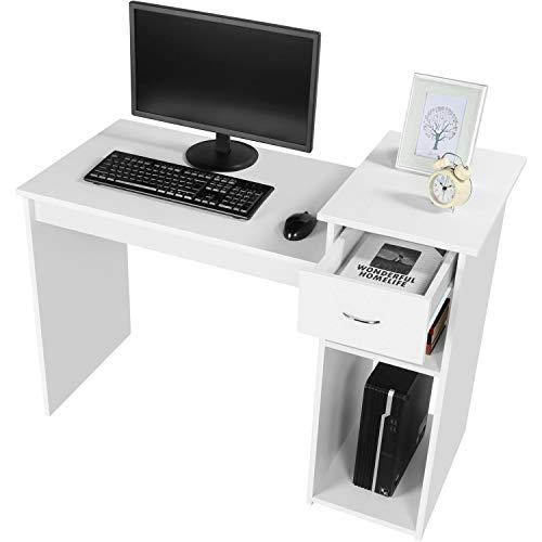 Yaheetech Mesa de Ordenador con Cajón 112x70x50cm Escritorio PC con Estanteria Mesa de Oficina Moderno para Despacho Estudio Blanco Brillo