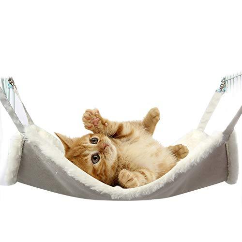 IEUUMLER Comfortable Hängematte Haustier Kätzchen Decke Käfig Hängendes Bett für Kaninchen, Frettchen, Chinchilla, Katzen IE145 (M (48x38cm), White)
