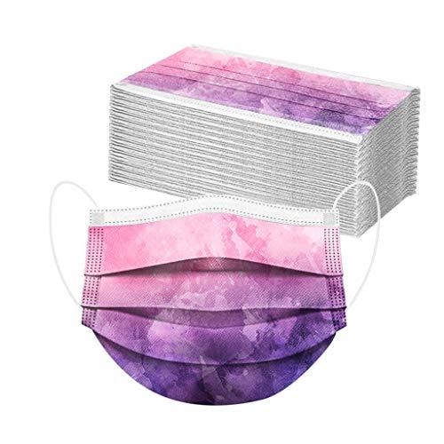 Bumplebee 50 Stück Einmal-Mundschutz, Einweg Erwachsene Mundschutz mit Motiv Tie dye Bunt MNS Mund Nasenschutz 3 Lagig Atmungsaktiv Bandana Halstuch für Damen Männer