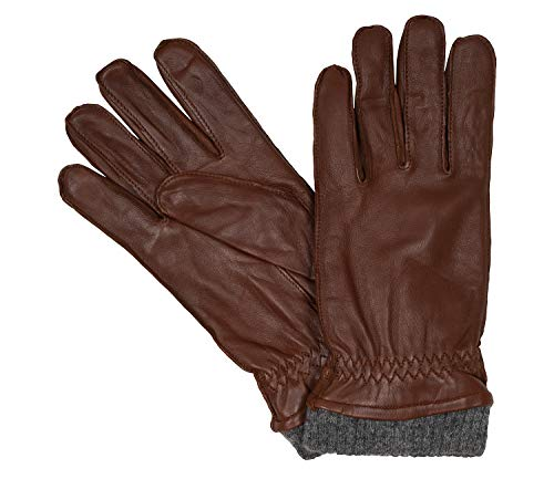 Bugatti Herrenhandschuhe Handschuhe Schafsleder mit Strickbündchen Cognac 8624, Farbe:Braun, Größe:L