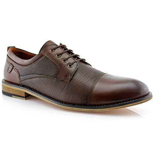 Ferro Aldo Mens Oxfords Classic Modern Captoe Dress Shoes Brown 11