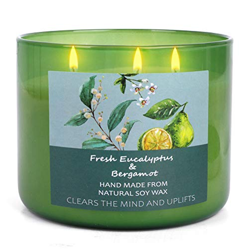 T&H Soy Candles for Home Scented - Aromatherapy Eucalyptus & Bergamot Stress Relief Candles -...