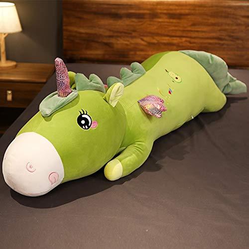 KXCAQ 110cm de Largo y Encantador Unicornio de Frutas de Juguete de Felpa de Dibujos Animados muñeca Animal Relleno Novio Almohada para Dormir Chico Regalo de cumpleaños 110cm Verde