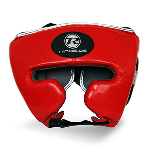 Ringside Boxing Pro Fitness PU Groin Guard Synthetic Leather, Red / Black / Silver, M
