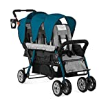 Gaggle Compass 3-Seat Tandem Stroller with Canopy, 5-Point Harness, Foot-Brake, Teal/Black