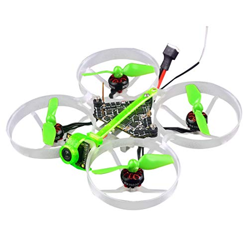 HAPPYMODEL Moblite7 Indoor Quadcopter 1S 75mm Ultra Light Four-axis Brushless Whoop FPV Racing Drone BNF with F4 Flight Controller 19000KV Brushless Motors (Receiver for Frsky Version)