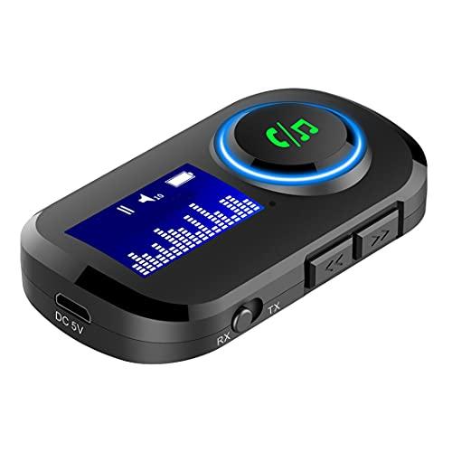 #N/D Receptor y transmisor inalámbrico T5 con Pantalla Batería incorporada Adaptador inalámbrico de Audio de 3,5 mm 5.0