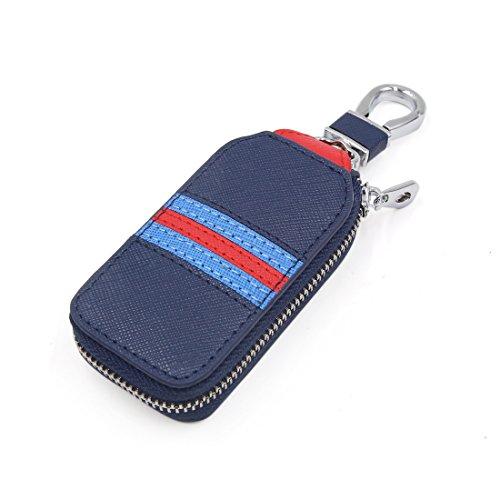 sourcingmap Bleu Rouge Blanc simili cuir Fermeture Éclair en forme rectangle porte-clé voiture poche sac
