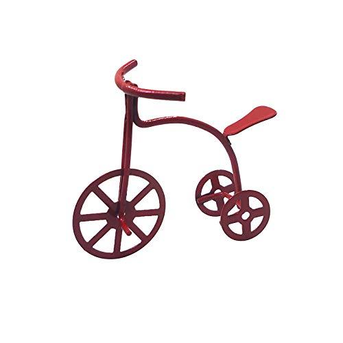 Haokaini Triciclo de Bicicleta Roja Miniatura Casa de Muñecas Bicicleta Roja Triciclo de Niños Modelo de Escena de Metal Juguete para 1/12 Casas de Muñecas Accesorios de Muebles
