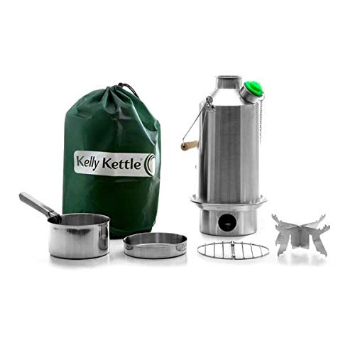'Base Camp' Kelly Kettle - BASIC KIT (1.6 liter SST Camping Kettle + Cook Set + Pot Support) All items are Stainless Steel. NEW MODEL - Green Whistle Has Replaced The Orange Stopper. Camping Kettle and Camp Stove in one. Ultra fast lightweight wood fuelled stove. NO Batteries, NO Gas, NO Fuel costs! For Camping, Fishing, Scouts, Garden Allotments, Power Shortages, etc. Weight 1.62kg / 3.56lb