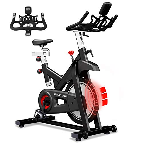 KOUZ LIVE Exercise Bikes Magnetic Resistance, Indoor Cycling Bike Stationary for Home with Comfortable Seat Cushion, iPad Holder and LCD Monitor, 330 Lbs Weight Capacity (Black)