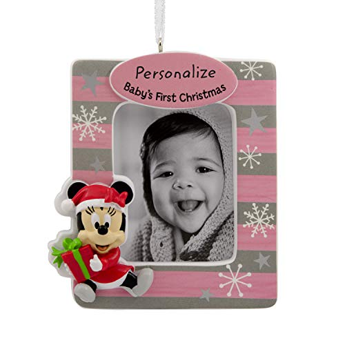 Hallmark Christmas Ornaments, Disney Minnie Mouse Baby's First Christmas Personalized Picture Frame Ornament