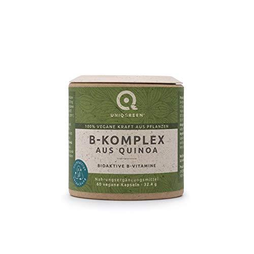 UNIQGREEN® B-Komplex aus Quinoa, 100% pflanzlich, 60 vegane Softgelkapseln mit 8 komplementären Bioaktiven B-Vitaminen B1, B2, B3, B5, B6, B7, B9 und B12, Nahrungsergänzungsmittel