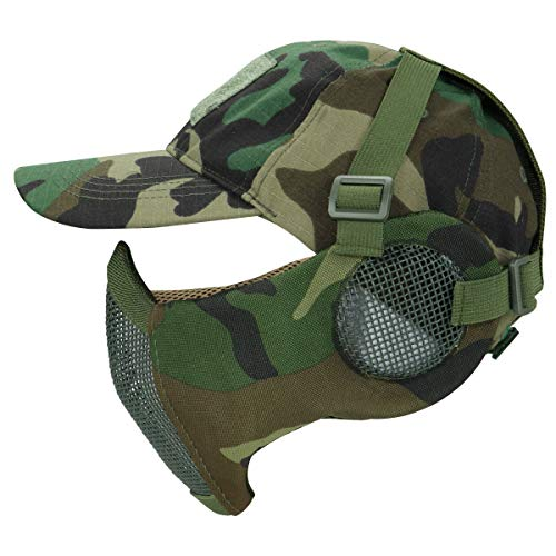 Aoutacc Airsoft Mesh Mask with Ear Protection and TAdjustable Baseball Cap Set for CS/Hunting/Paintball/Shooting (WL)